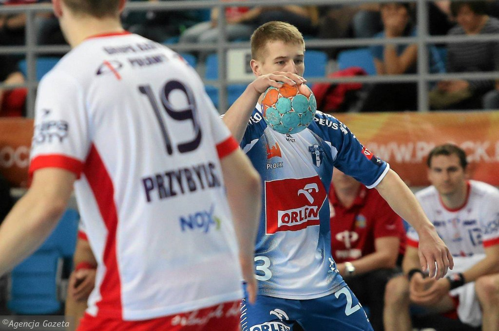 Jakub Moryń podczas półfinałowego meczu mistrzostw Polski Orlen Wisła Płock - Azoty Puławy