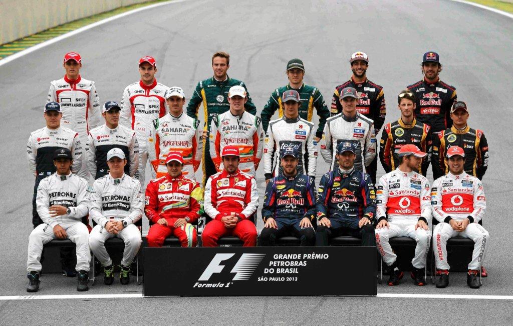 Oto wszyscy kierowcy, którzy wzięli udział w ostatnim wyścigu sezonu 2013 na Interlagos. W 2014 roku nie zobaczymy już Marka Webbera (Red Bull Racing), Paula di Resty (Force India), Charlesa Pica (Caterham) i Giedo van der Garde (Caterham)