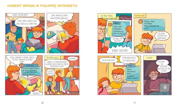 'Hubert wpada w pułapkę internetu', jeden z komiksów opublikowanych w książce 'Zły dotyk. Nie!'