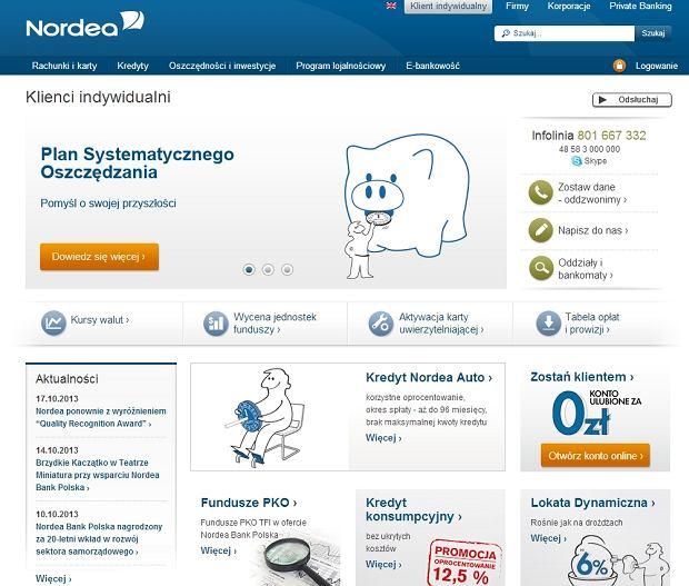 Strona internetowa banku Nordea