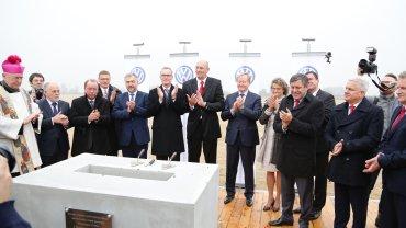 Wmurowanie kamienia węgielnego pod nową fabrykę Volkswagena we Wrześni
