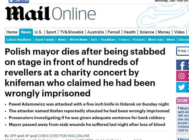 Daily Mail relacjonuje tragiczne wydarzenia w Polsce