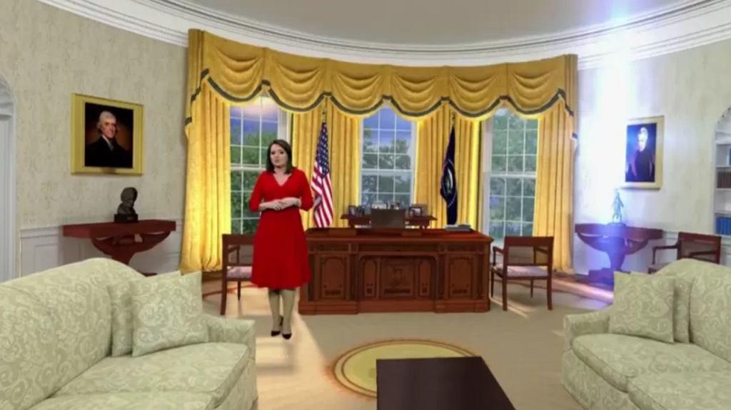 Danuta Holecka we wnętrzu Białego Domu, które zostało wygenerowane komputerowo