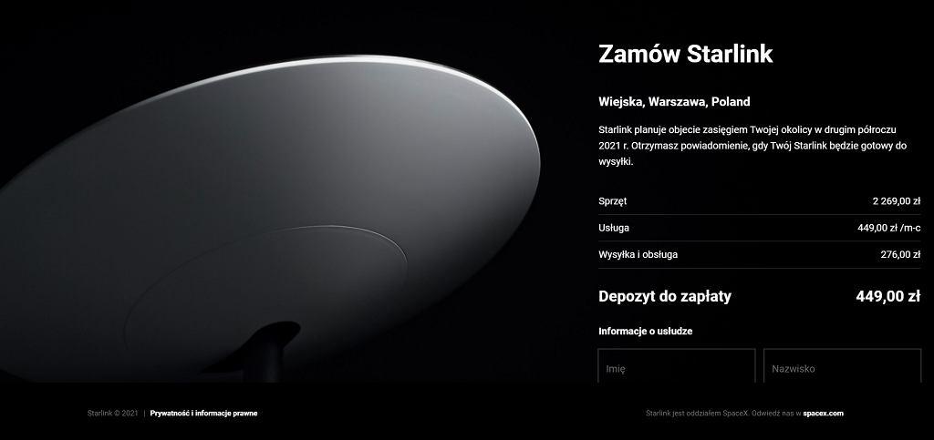Ceny internetu Starlink w Polsce