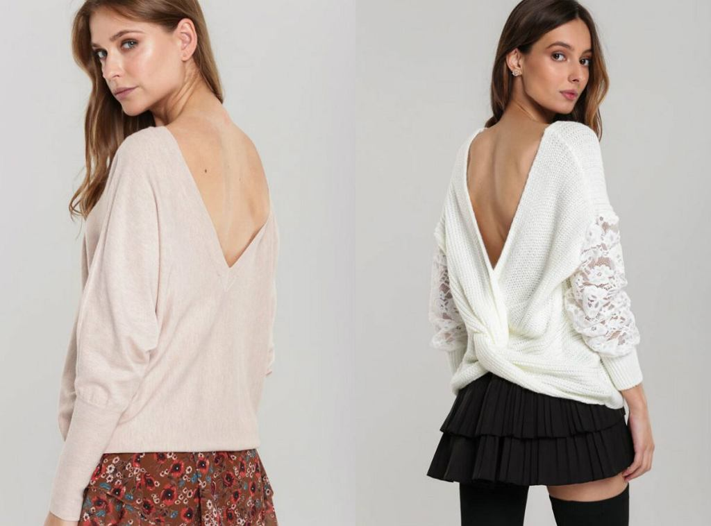 Swetry z dekoltem na plecak