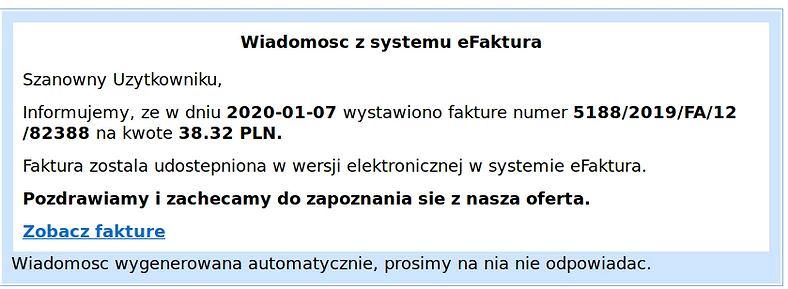fałszywy mail eFaktura