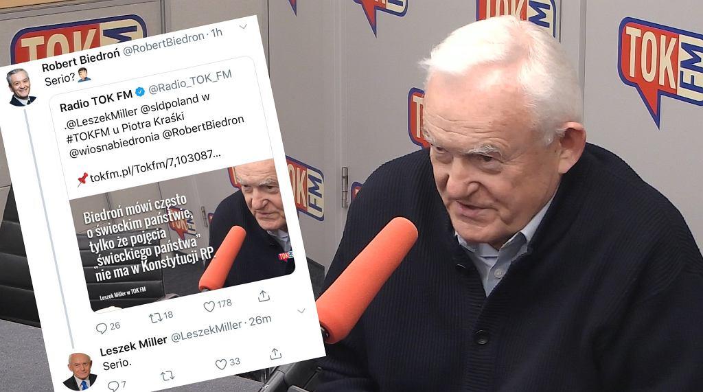 Leszek Miller w TOK FM i wymiana wpisów z Robertem Biedroniem na Twitterze