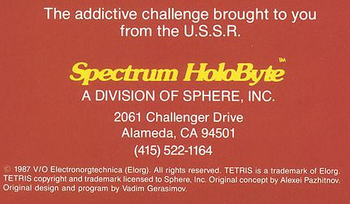 Informacja na pudełku gry Tetris z 1987 roku