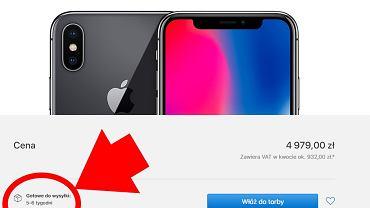 Zamawiając dziś iPhone'a X w polskim sklepie Apple trzeba czekać na dostawę nawet 5-6 tygodni