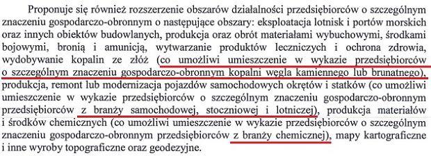 Fragment uzasadnienia do projektu Ustawy o organizowaniu zadań na rzecz obronności państwa realizowanych przez przedsiębiorców i programie mobilizacji gospodarki