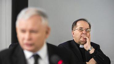 Prezes Jarosław Kaczyński i ojciec dyrektor Tadeusz Rydzyk. Warszawa, Sejm, 3 marca 2015.