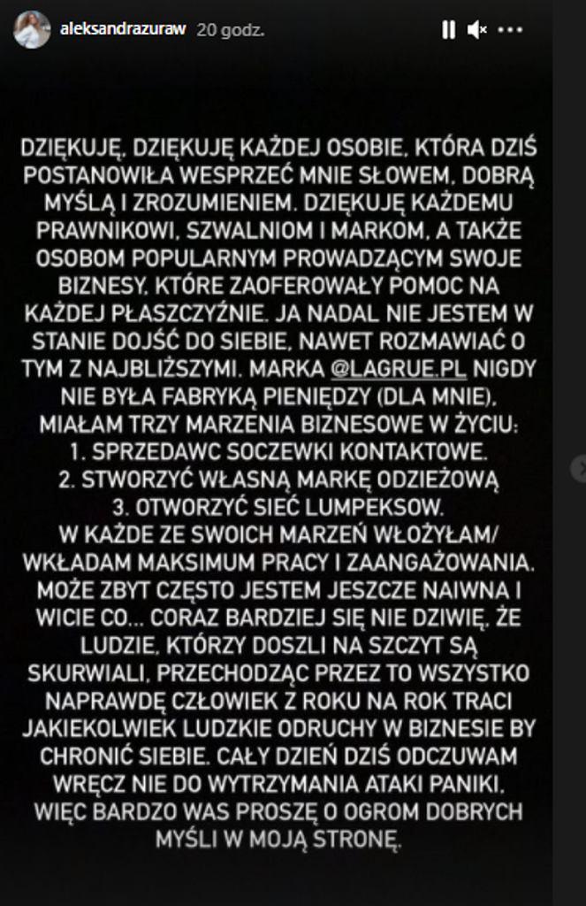 InstaStory Aleksandry Żuraw