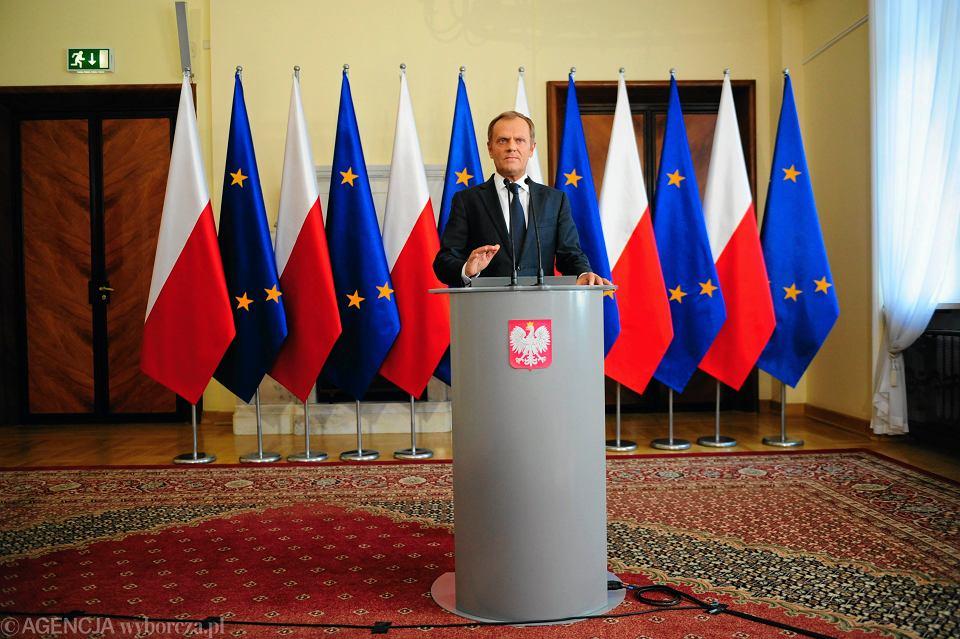 Premier Donald Tusk podczas konferencji prasowej dotyczącej afery podsłuchowej