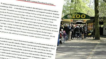 Radny PiS oskarża poznańskie zoo o wspieranie Putina