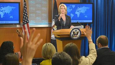 Rzeczniczka prasowa amerykańskiego Departamentu Stanu Heather Nauert podczas briefingu prasowego.
