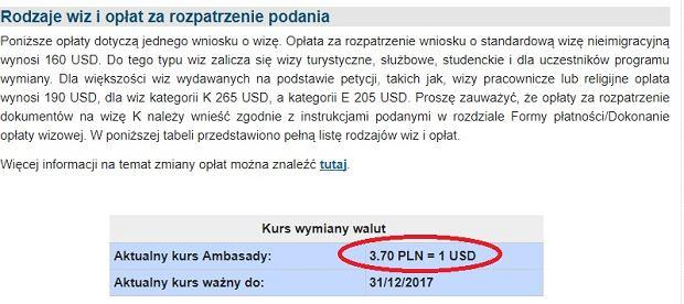 Ambasada USA przy wyliczaniu opłat za wnioski wizowe korzysta z kursu dolara sprzed kilku miesięcy