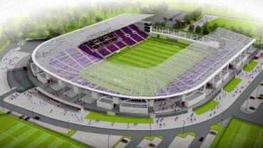 To najbardziej zbliżona do aktualnego projektu wizualizacja nowego stadionu (ale jeszcze bez czwartej trybuny)