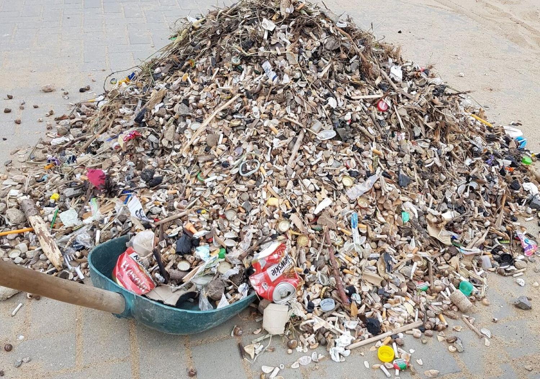 Śmieci usunięte z plaży (fot. Tomasz Zmitrowicz)