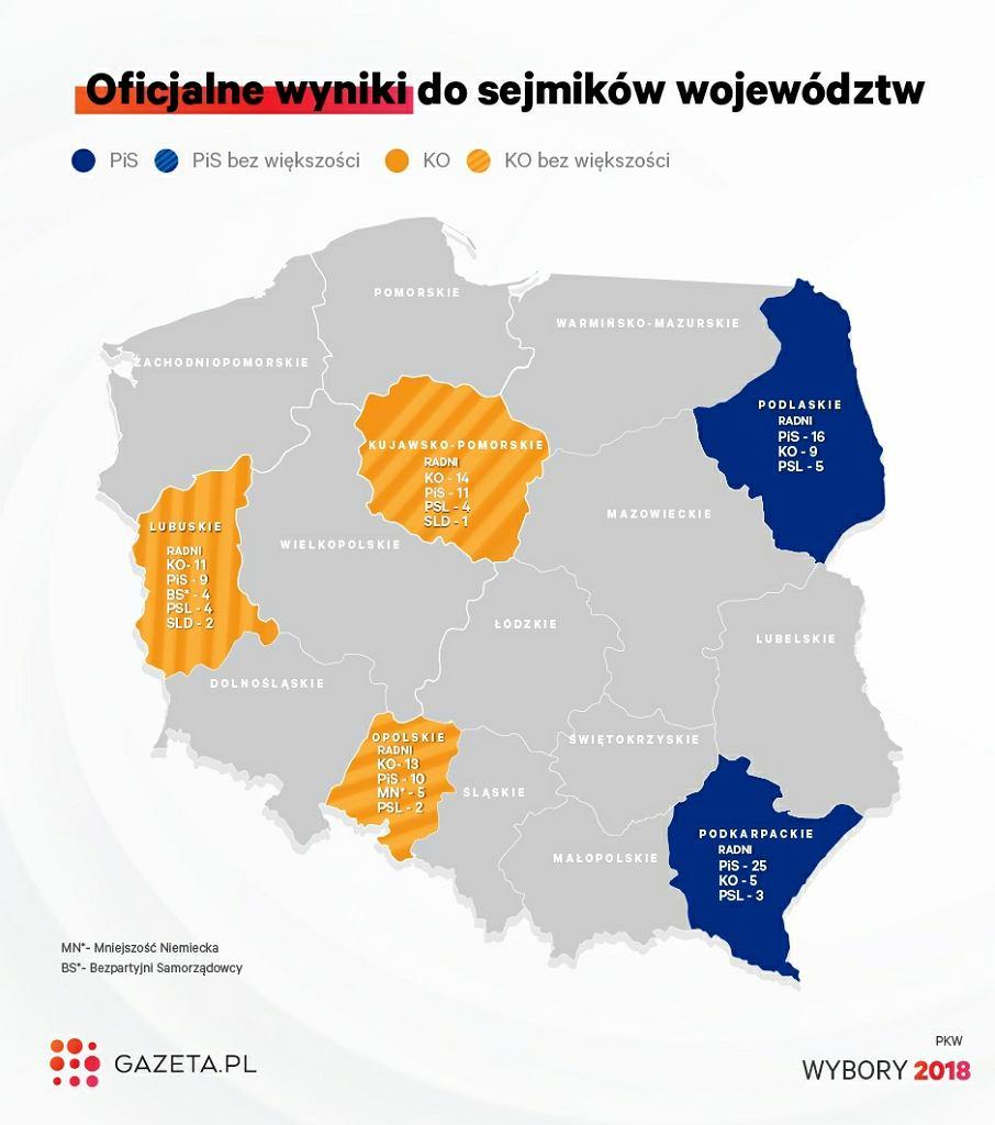 Wyniki wyborów samorządowych 2018. Sejmiki wojewódzkie Gazeta.pl