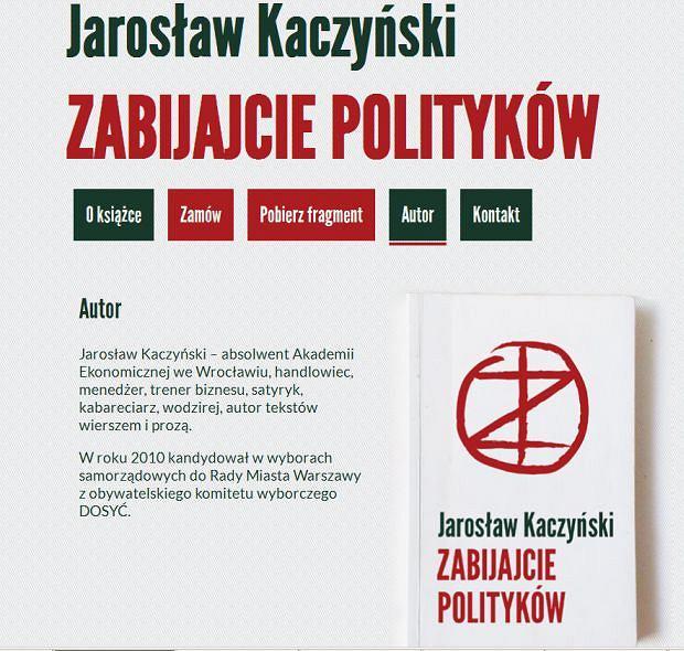 Strona Zabijajciepolitykow.pl. W zakładce