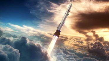 Grafika prezentująca rakietę New Shepard w locie