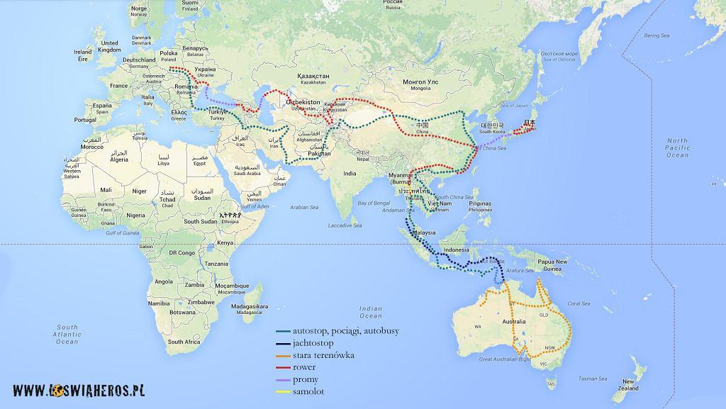 Mapa podróży po Azji i Australii