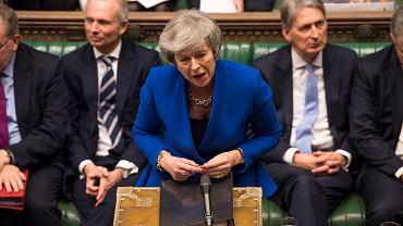 Londyn, 16.01.2019, premier Theresa May podczas debaty poprzedzającej głosowanie nad wotum nieufności dla jej rządu.