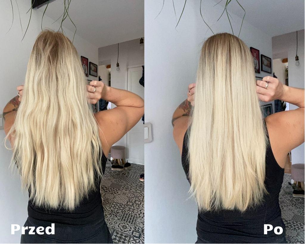 Włosy przed i po umyciu szamponem z sodą oczyszczoną