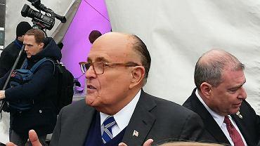 Był;y burmistrz Noego Jorku, Rudy Giuliani na manifestacji opozycji irańskiej w Warszawie