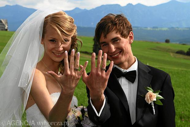 Ślub Ewy Bilan i Kamila Stocha w 2010 roku.