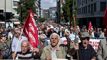 Protest emerytów przeciwko dalszym cięciom w emeryturach, Ateny, 3 października 2017.