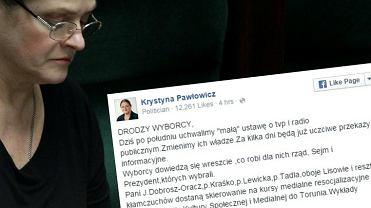 """Krystyna Pawłowicz o ustawie o """"mediach narodowych""""."""