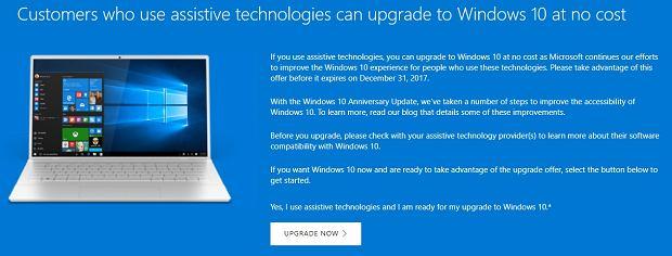 Darmowa aktualizacja do Windows 10 dla osób korzystających z ułatwień dostępu