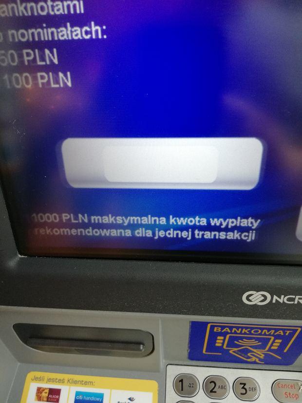 Bankomat Euronet 'rekomenduje' wypłatę do 1000 zł