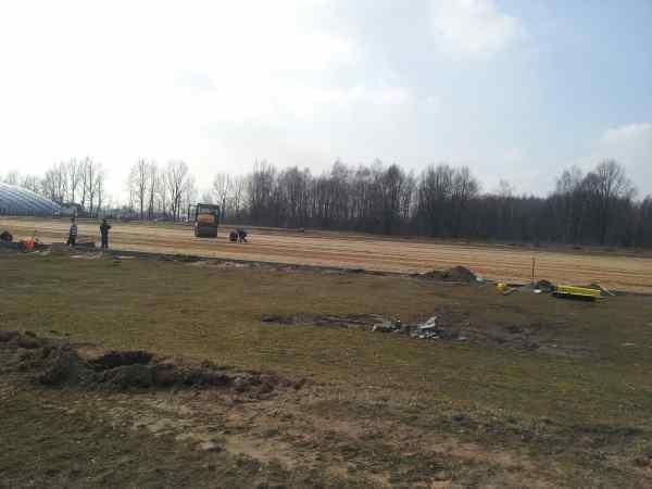 Budowa boiska przy ul Minerskiej - zdjęcie z marca