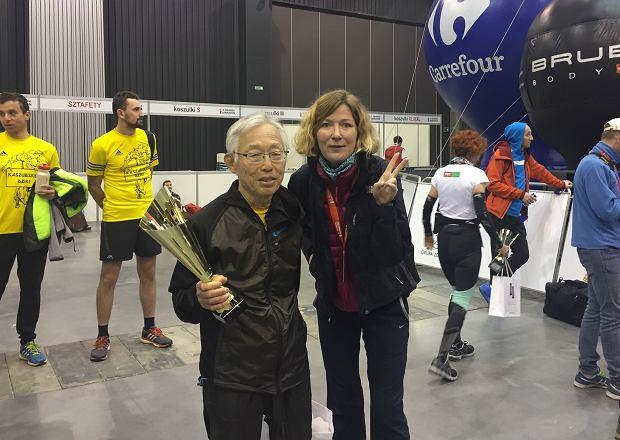 profesor Hioraki Tanaka po maratonie w Gdańsku