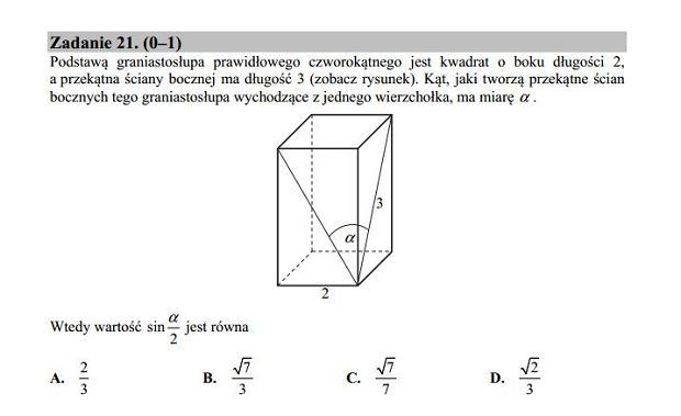 Matura poprawkowa 2016 matematyka, Zad. 21