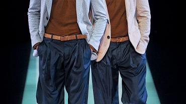 Spodnie z szerokimi nogawkami. Giorgio Armani, kolekcja wiosna 2013