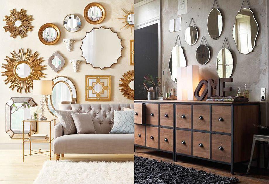 Kompozycje z luster w salonie