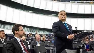 Premier Węgier Viktor Orban w Parlamencie Europejskim podczas debaty ws. uruchomienia art. 7 wobec Węgier