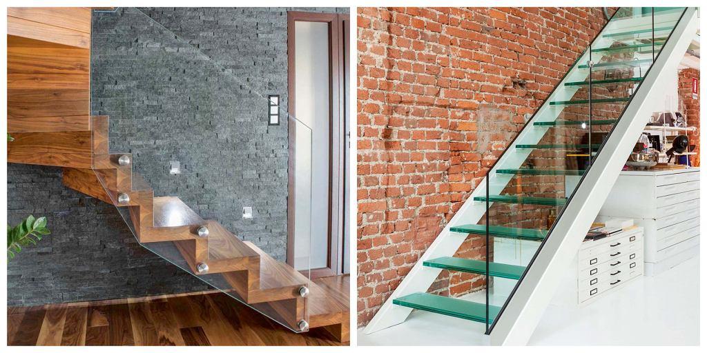 Dzięki szklanej barierce (we wnętrzu po lewej - również stopniom) schody wydają się mniej masywne i nie dominują we wnętrzu. Szkło ma tę zaletę, że pasuje do różnych materiałów, zarówno tych 'klasycznych', na przykład eleganckiego drewna, jak i nowoczesnych, loftowych - cegły, metalu, tworzyw sztucznych.