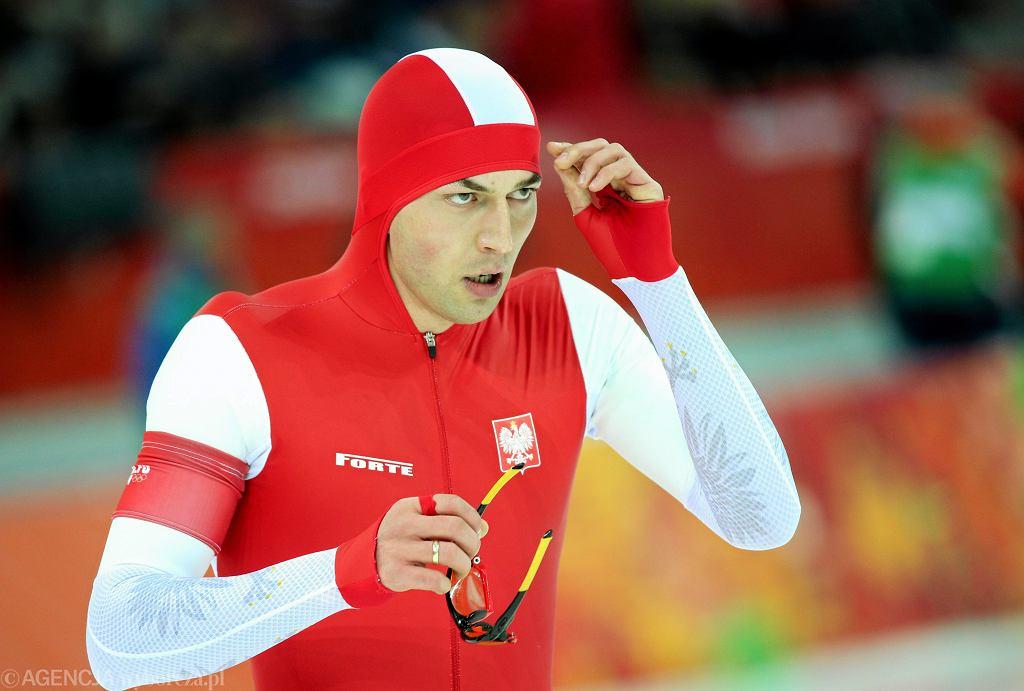 Zbigniew Bródka - zloty medalista w wyścigu na 1500 m w łyżwiarstwie szybkim. Igrzyska olimpijskie w Soczi, 12 lutego 2014