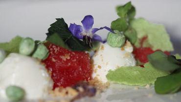 Przystawka z jogurtu, arbuza, liofilizowanego groszku i kwiatów; Kino Kulinarne na Festiwalu Transatlantyk