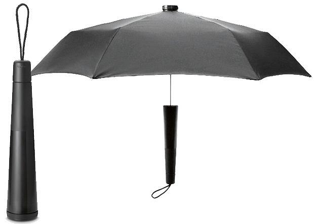 Yuento Magic Umbrella - rączka jest jednocześnie plastikowym schowkiem na powłokę mokrego parasola