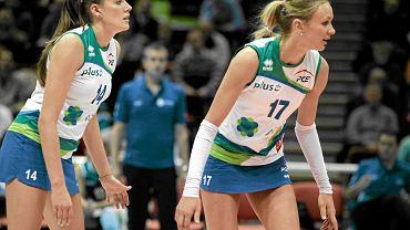 Ewelina Sieczka (z lewej) i Małgorzata Kożuch w zespole Atomu Trefl