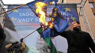 Jobbik pali flagę UE