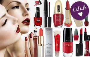 czerwony makijaż, manicure, kosmetyki, czerwień, bordo, bordowy