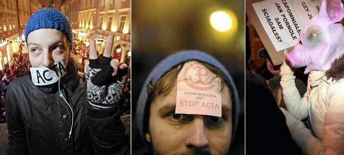 Protestujący przeciw ACTA