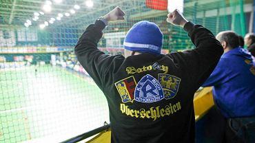 Kibic Ruchu Chorzów podczas meczu piłki ręcznej kobiet