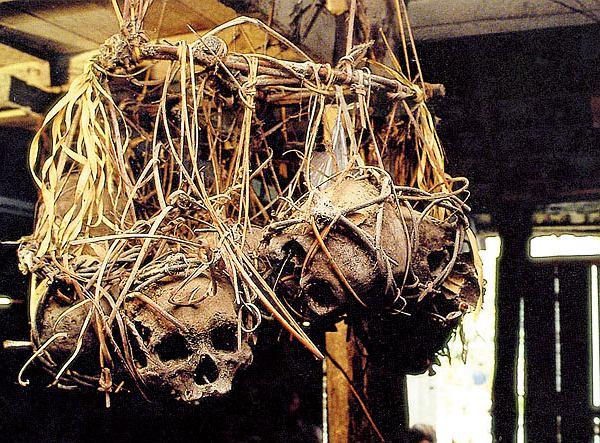 Borneo, zakurzone, zasnute pajęczyną, poczerniałe od kuchennego dymu czaszki ludzkie